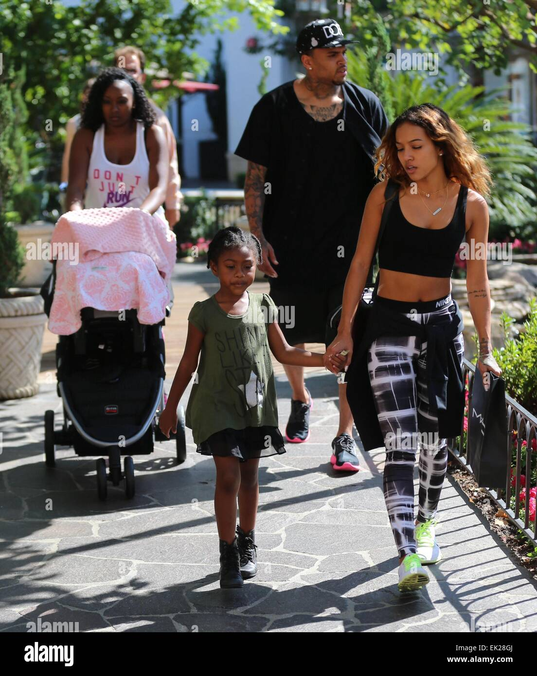 Chris Brown seen with girlfriend Karrueche Tran and ...