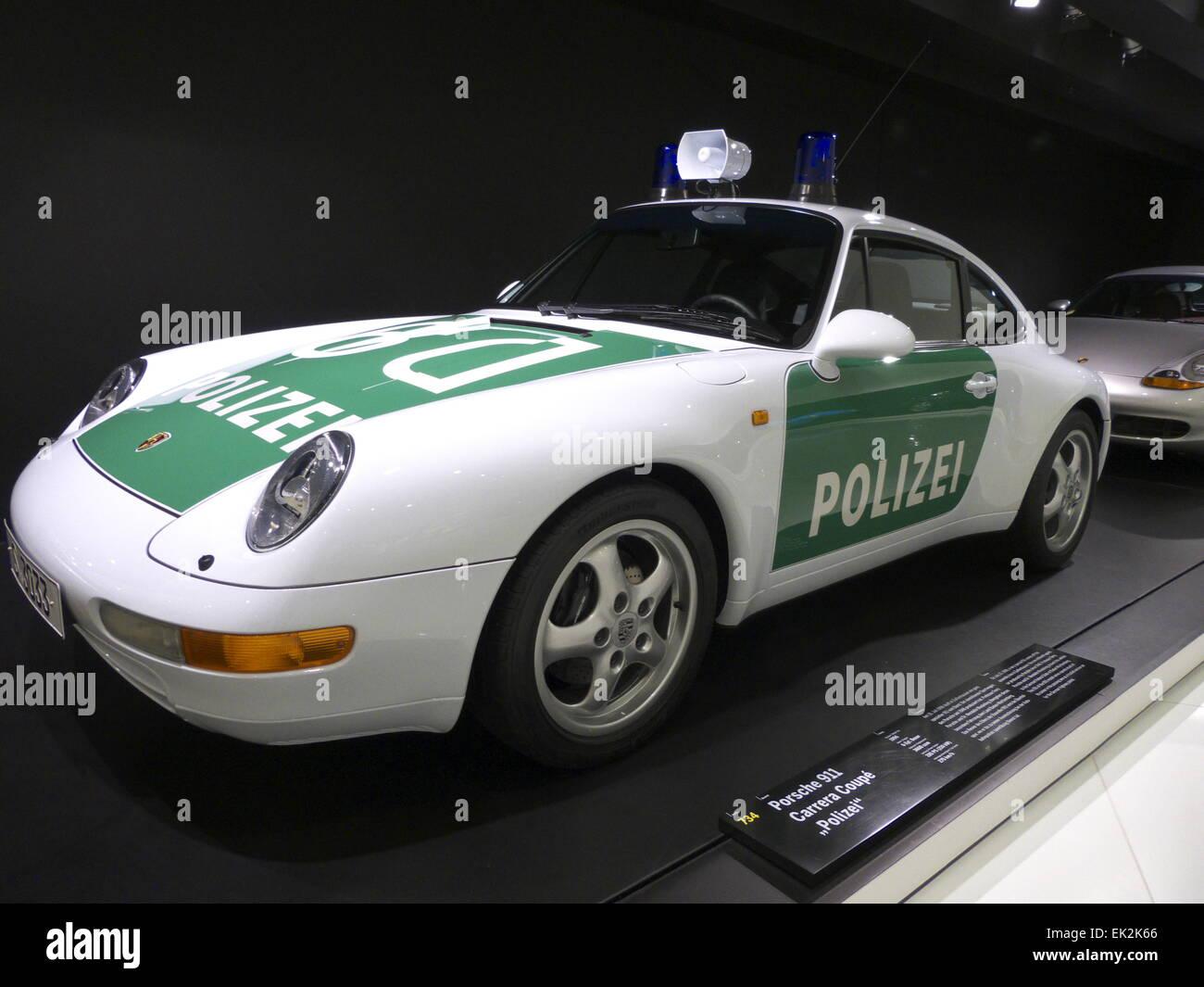 germany stuttgart porsche museum display police car stock. Black Bedroom Furniture Sets. Home Design Ideas
