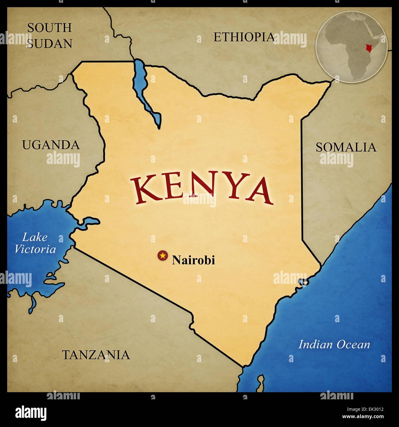 Kenya Map And Bordering Countries With Capital Nairobi