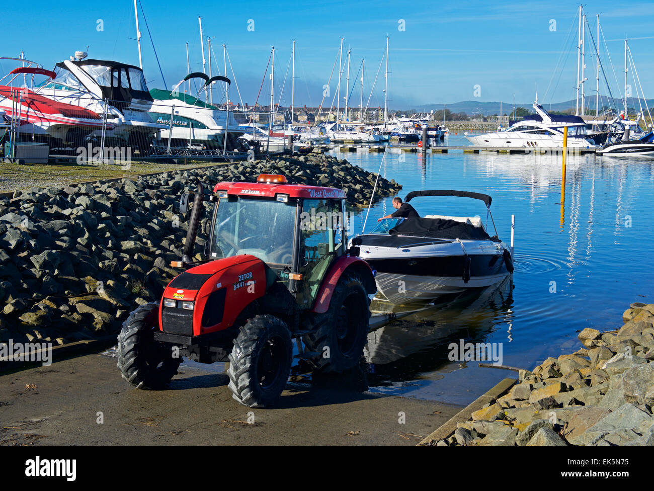 Tractor Pull Boats : Tractor towing boat out of the water marina pwllheli