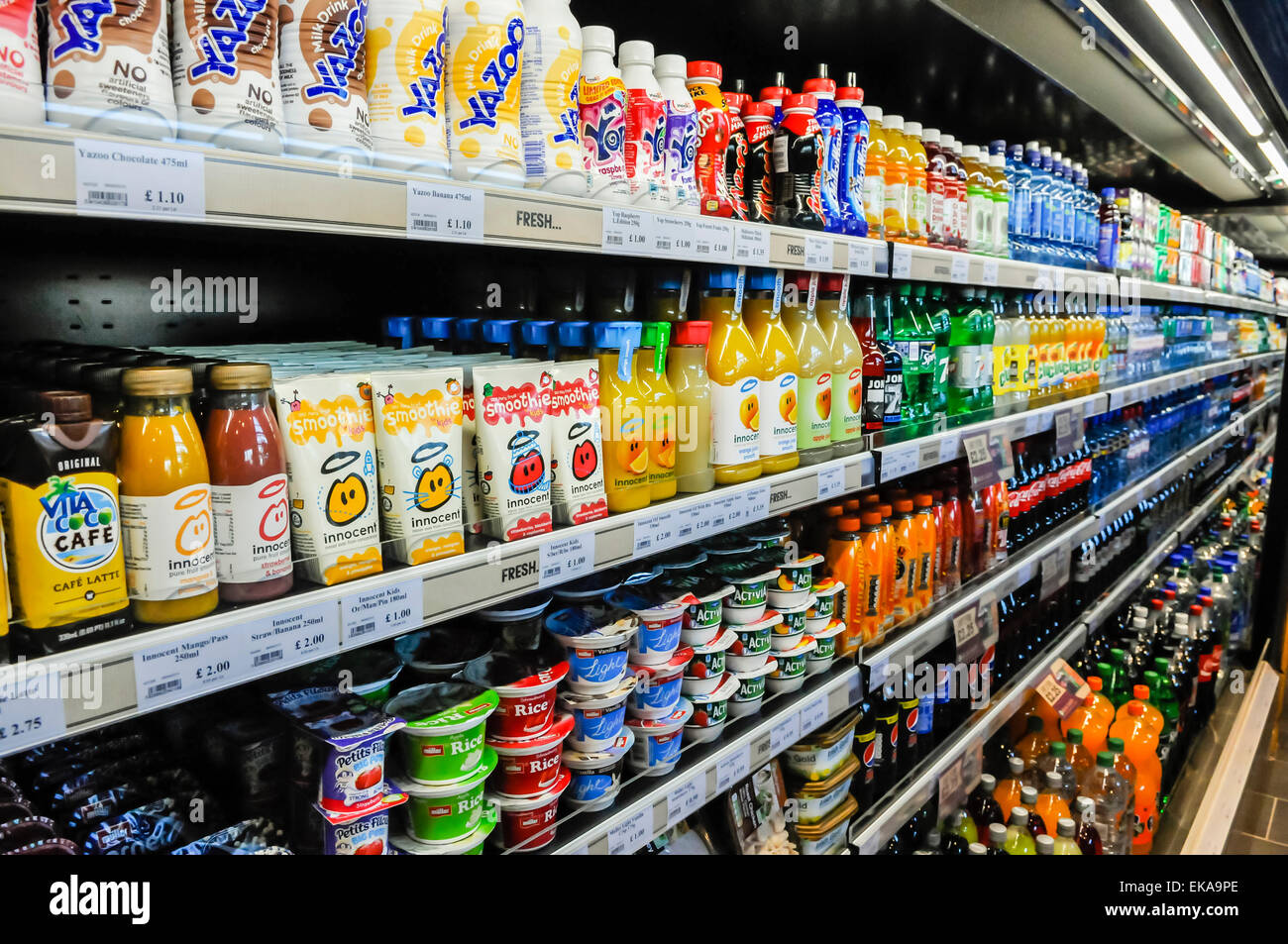 Soft Drinks In The Fridge Of A Shop Stock Photo Royalty