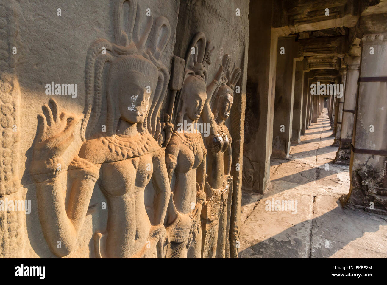 Bas relief carvings of apsara angkor wat unesco