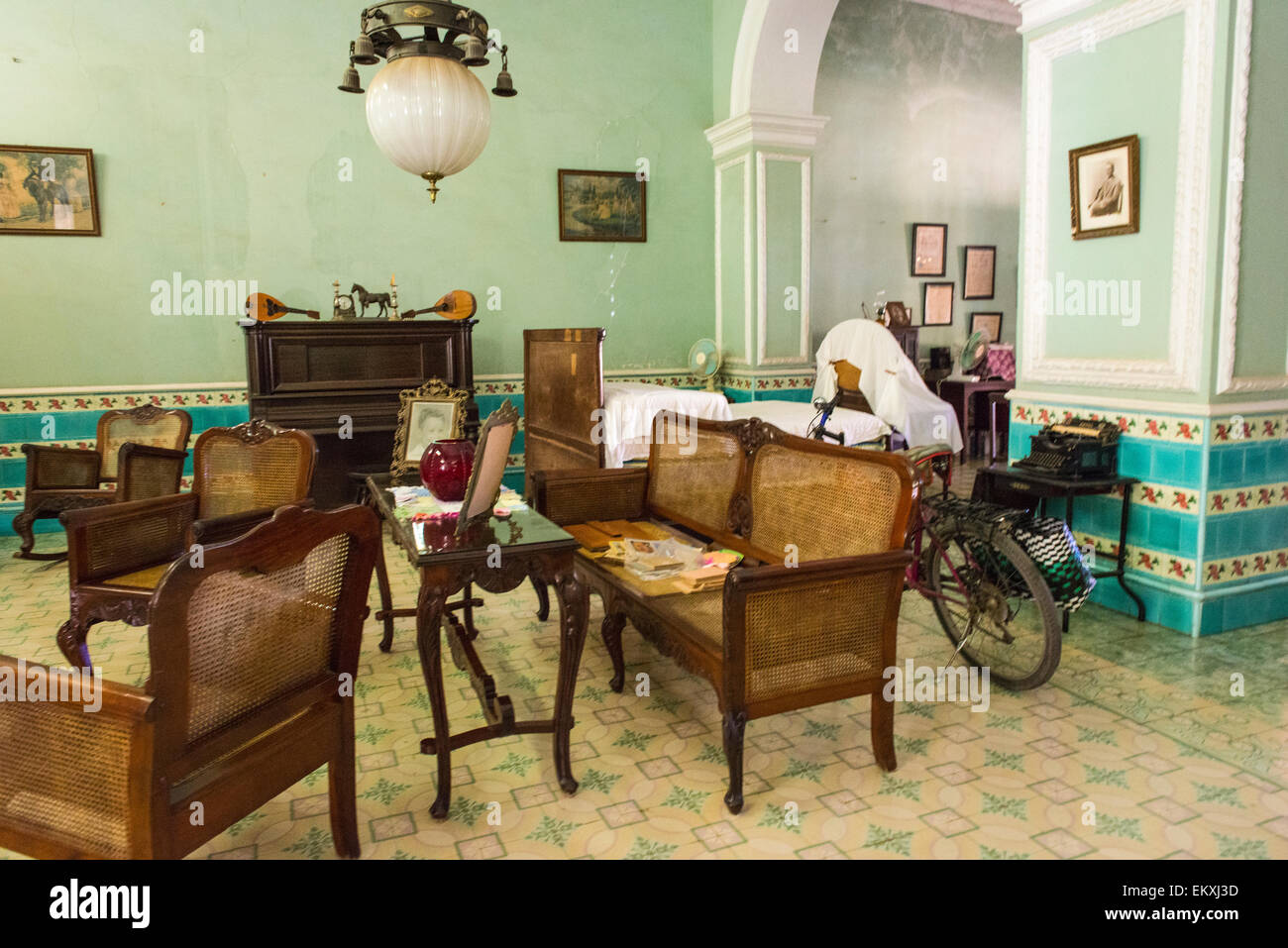 Cuba trinidad typical cuban home old antique furniture ornate walls stock photo royalty free for Living room furniture trinidad