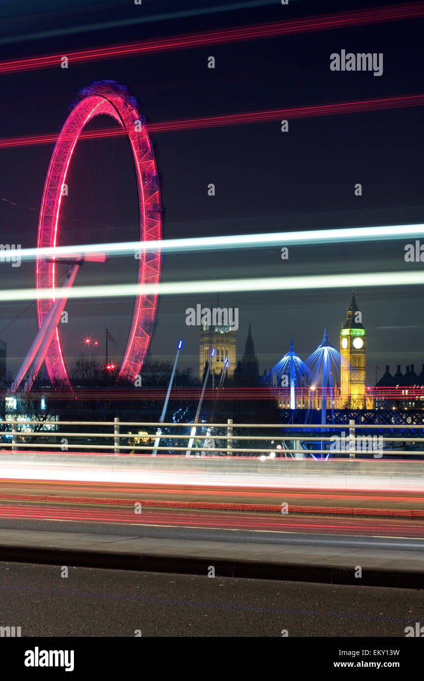 Traffic light trails on Waterloo Bridge with London Eye and Big Ben in the background , London, UK Stock Photo