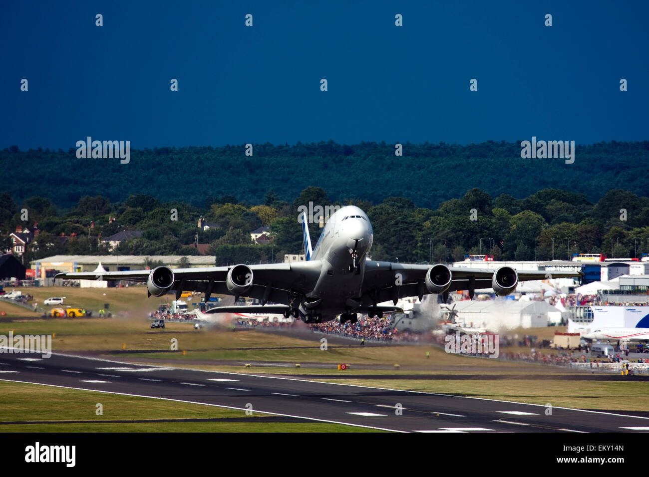 Airbus A380 taking off at Farnborough International Airshow 2015 Stock Photo