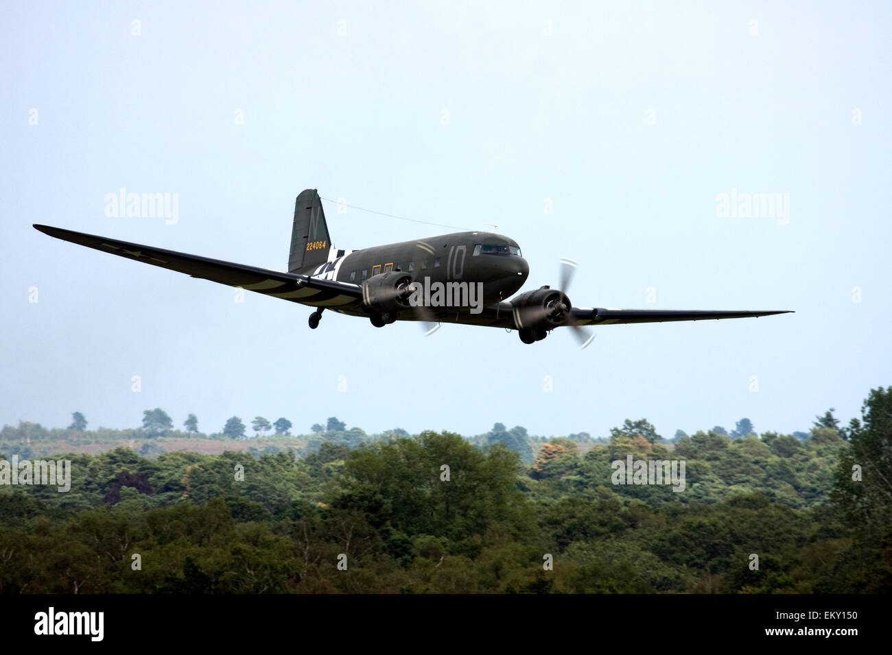 Douglas C-47A Skytrain DC-3 at  Farnborough International Airshow 2014. Stock Photo