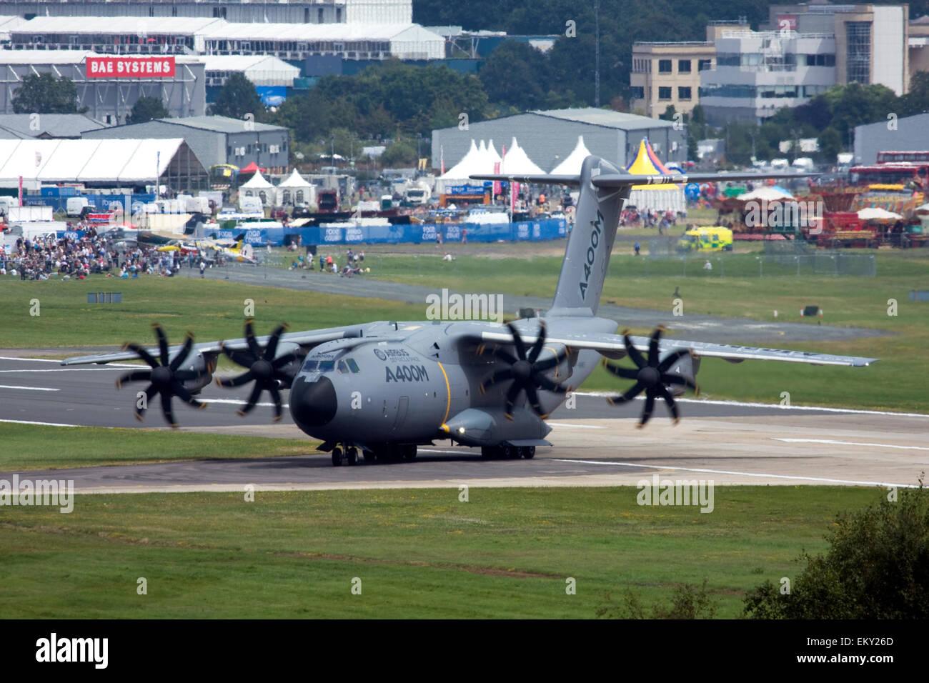 Airbus A400M Atlas military transport aircraft at Farnborough International Airshow 2014, UK Stock Photo