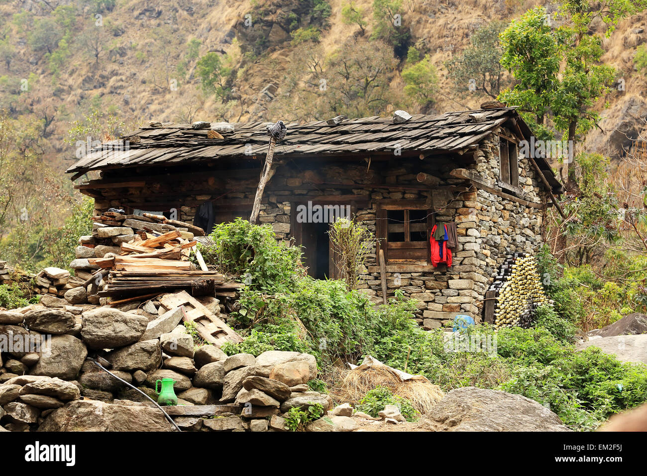 Stone House In The Mountains Of The Himalayas Everest
