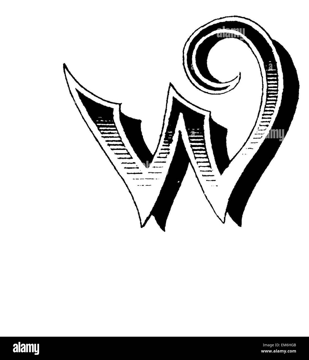 Letter W Fancy Font Stock Photo Royalty Free Image
