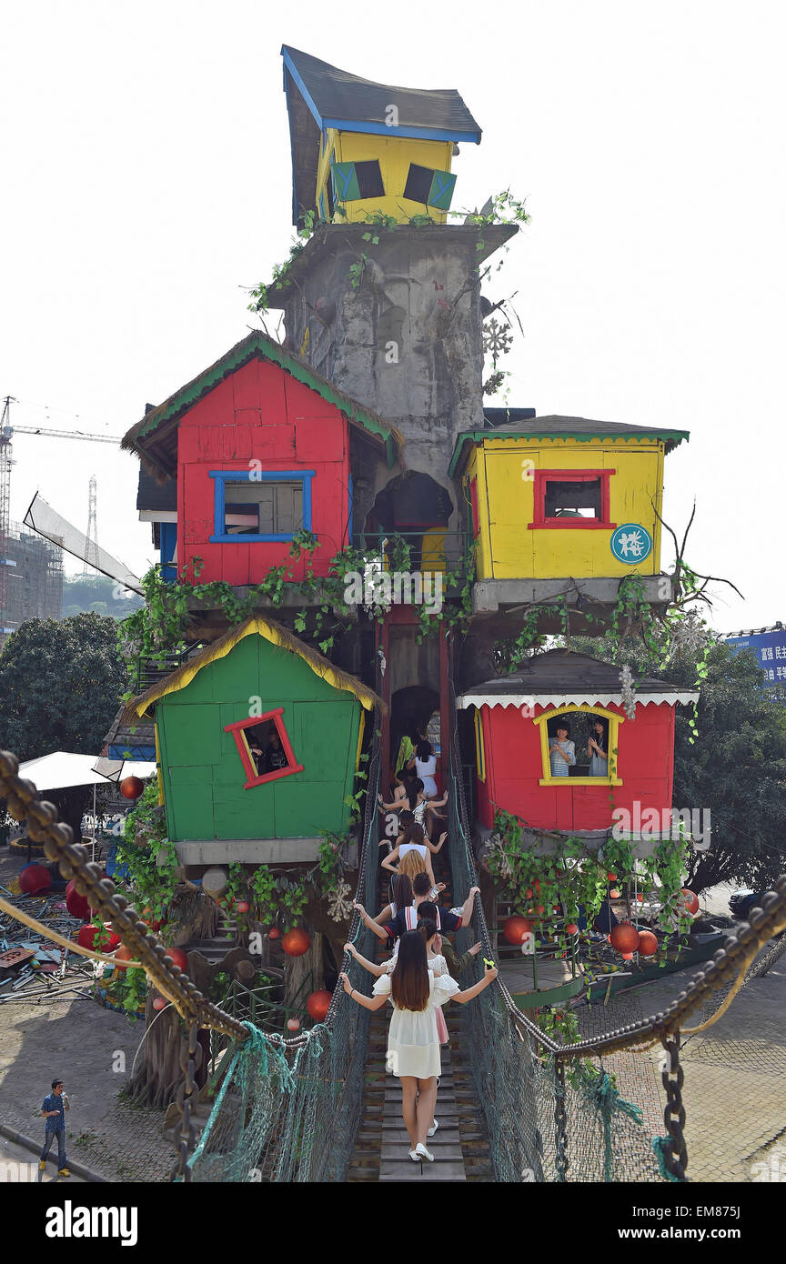 20 Meters High : Chongqing th apr visitors go sightseeing in a