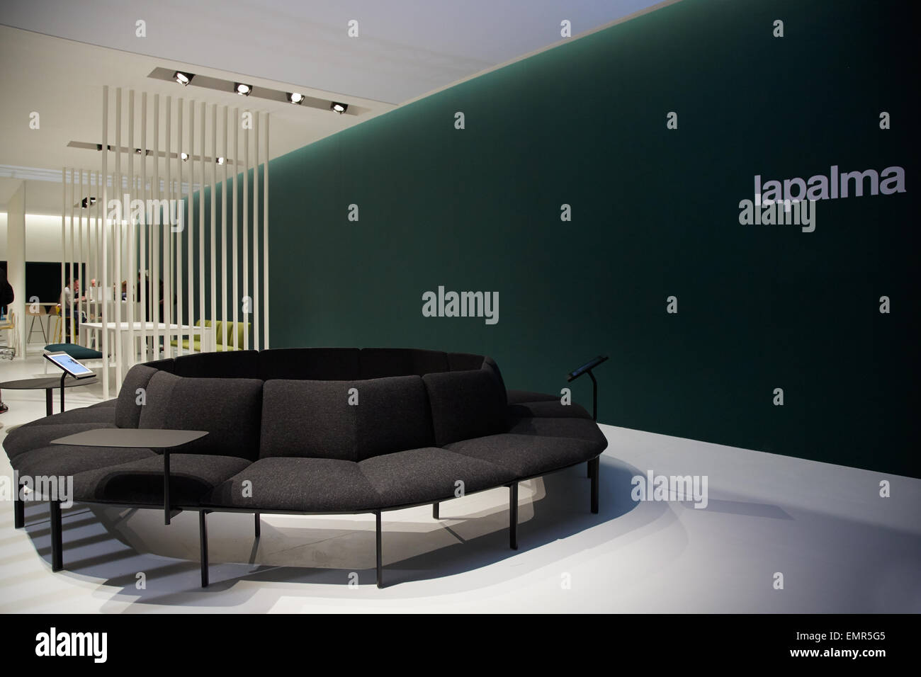 milan italy april 14 milan design week la palma stand at salone stock photo royalty free. Black Bedroom Furniture Sets. Home Design Ideas