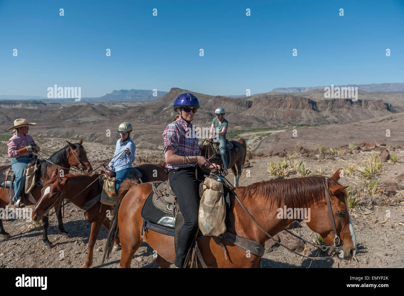 Horseback riding in Big Bend Ranch State Park. Texas. USA ...