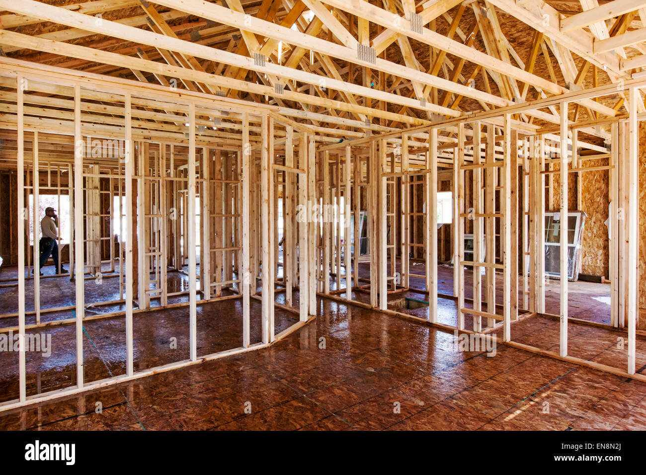 Interior Wall Framing Construction Of A Craftsman Style Residential Stock Photo Royalty Free