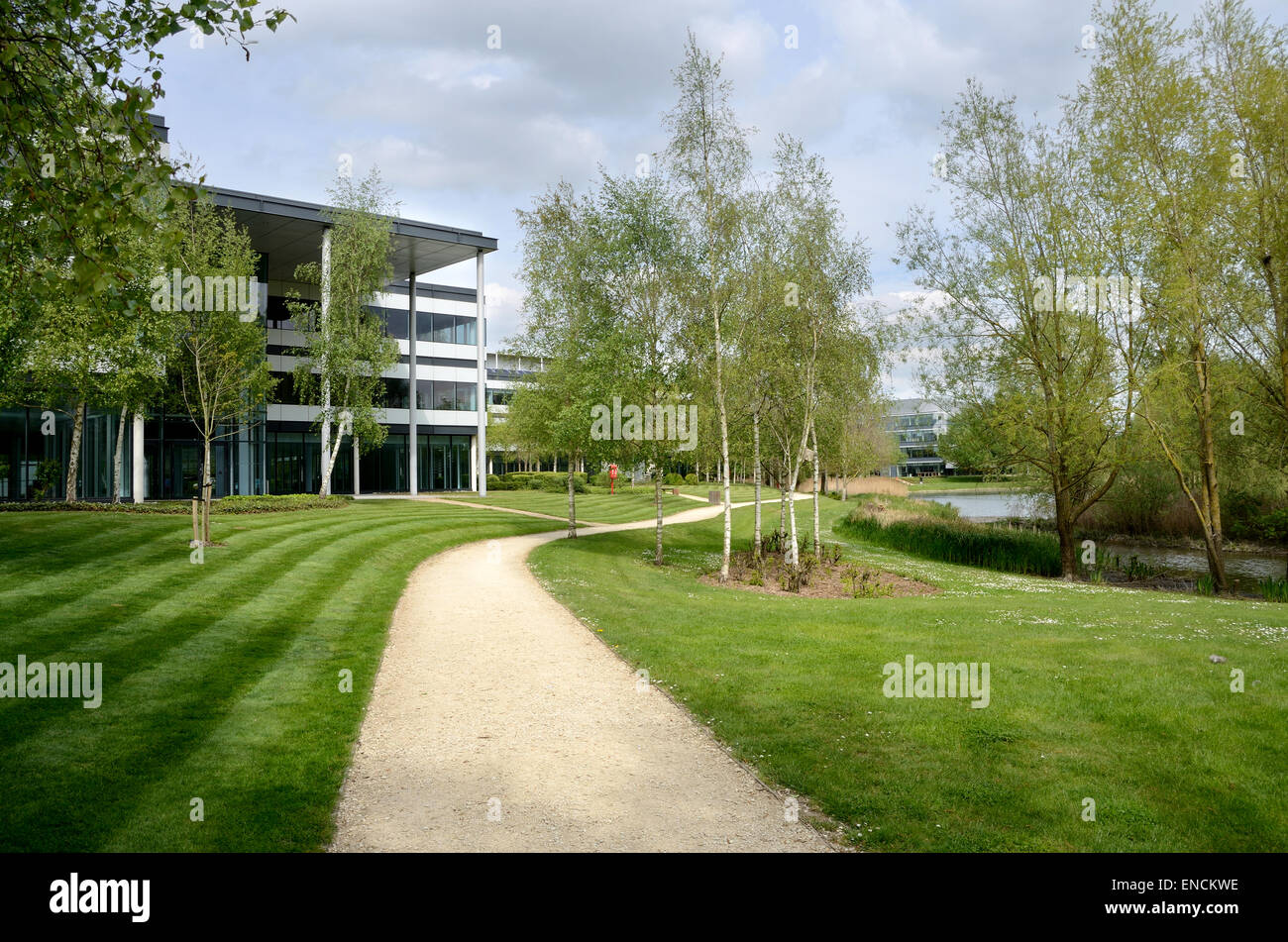 A view of the path leading around the lake at Green Park, Reading. Stock Photo