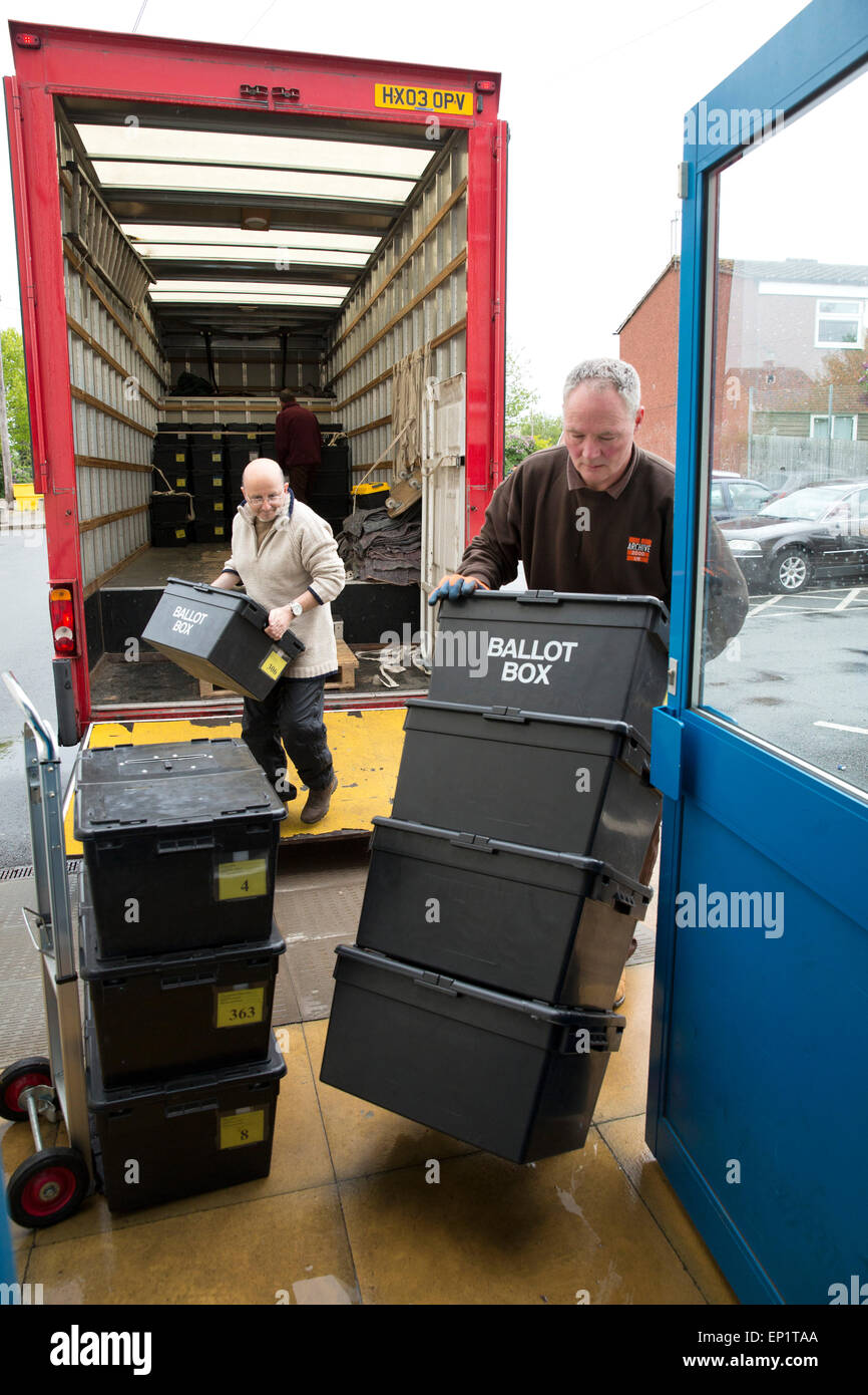Ballot boxes being delivered to Sheldon Heath community centre ready for voting in the General Election Stock Photo