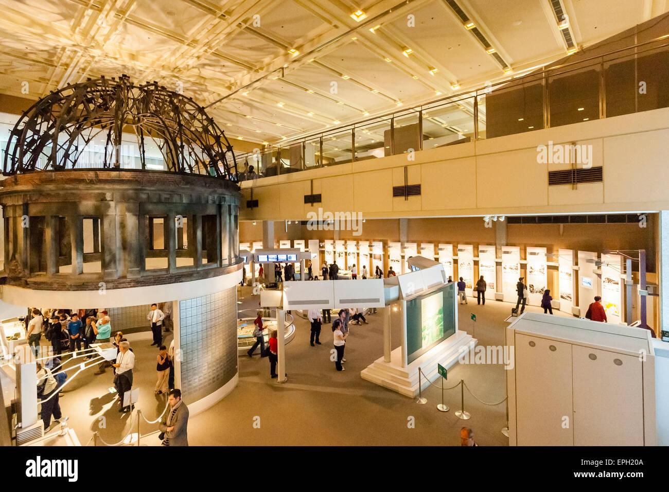 Japan, Hiroshima. Interior, Atomic-Bomb museum, first hall ...