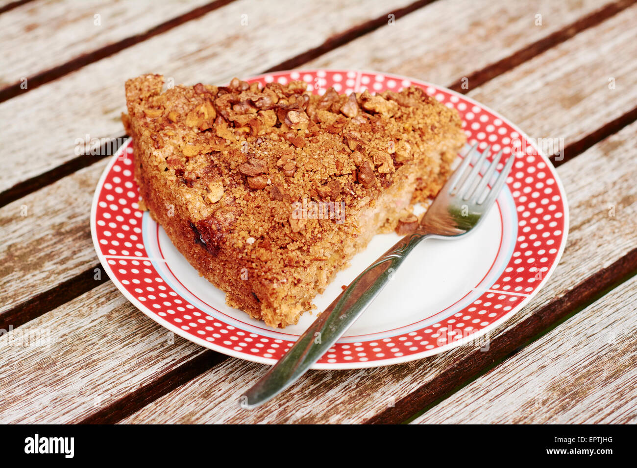 Rhubarb Coffeecake with Walnut Streusel Topping Stock Photo
