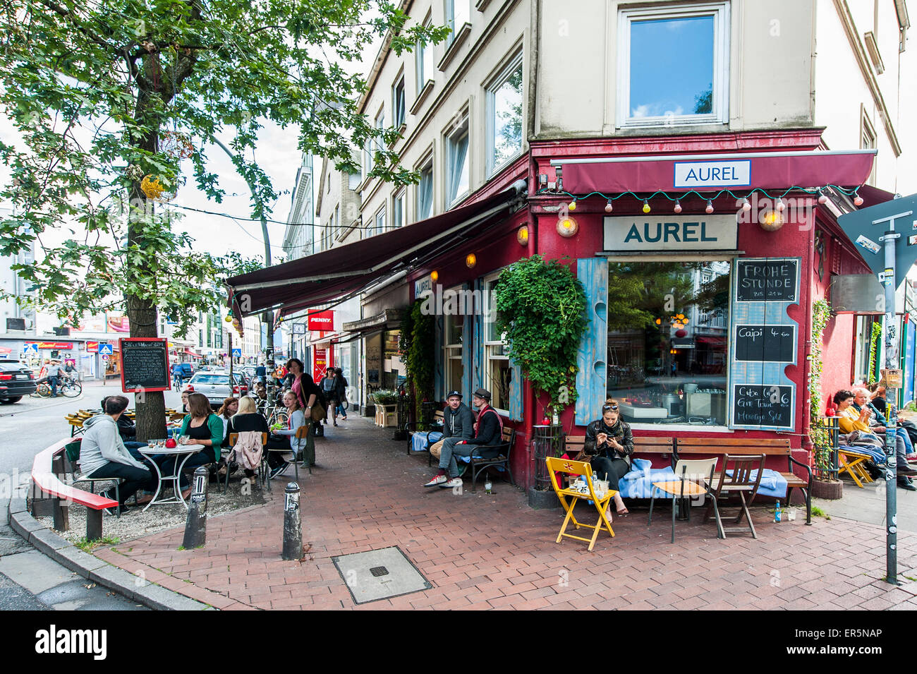 People In Front Of Bar Aurel Altona Hamburg Germany