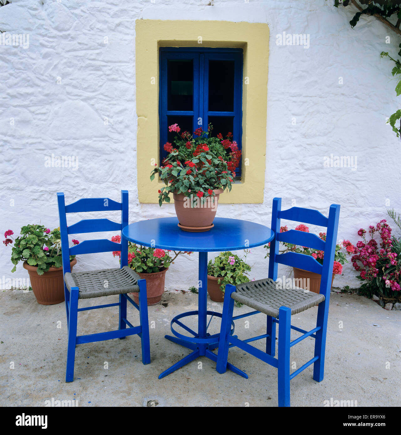 Greek style blue table and chairs kos dodecanese