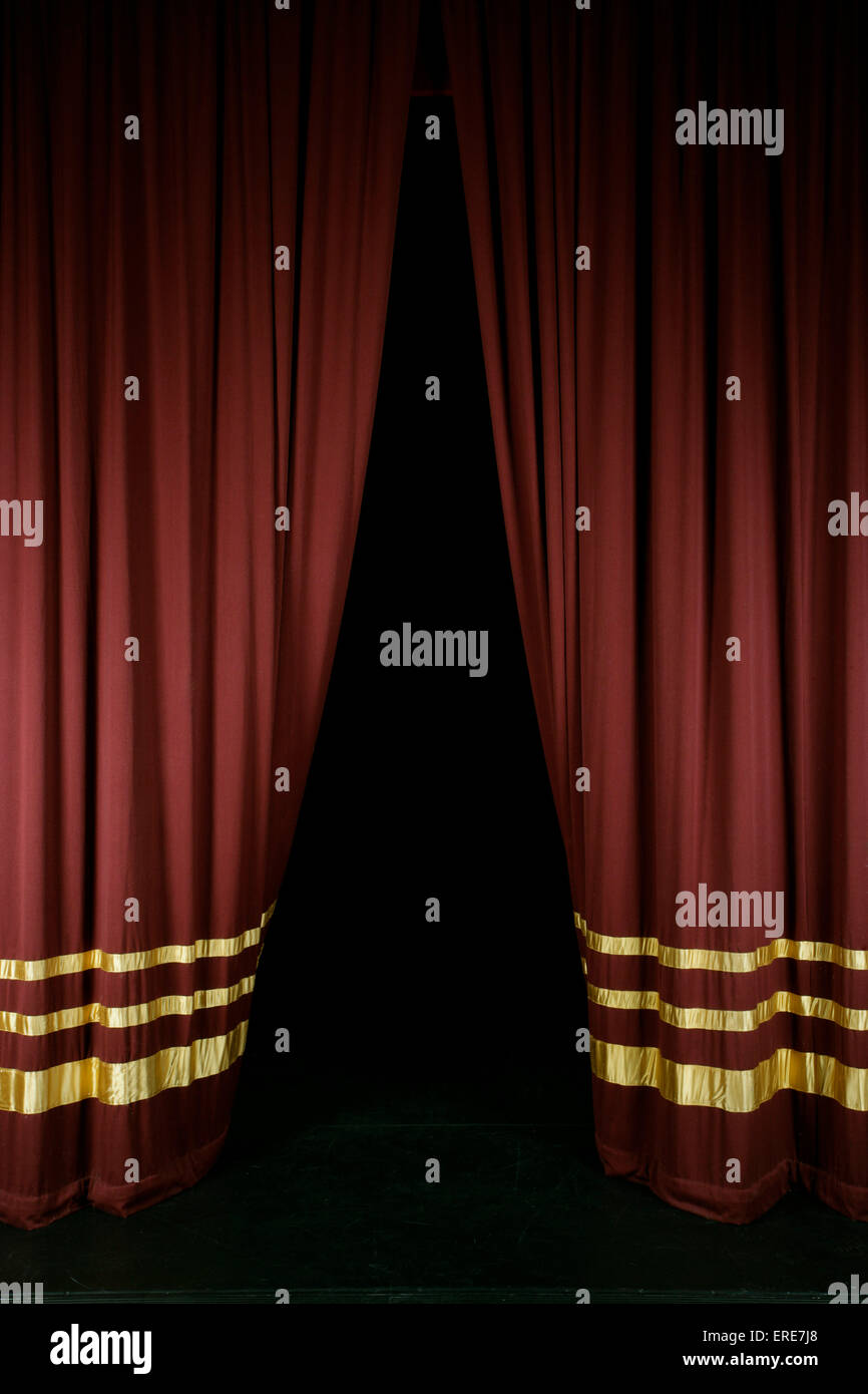 Real open stage curtains - Real Open Stage Curtains Red Stage Curtains With Gold Stripes Partially Open To Reveal Stage