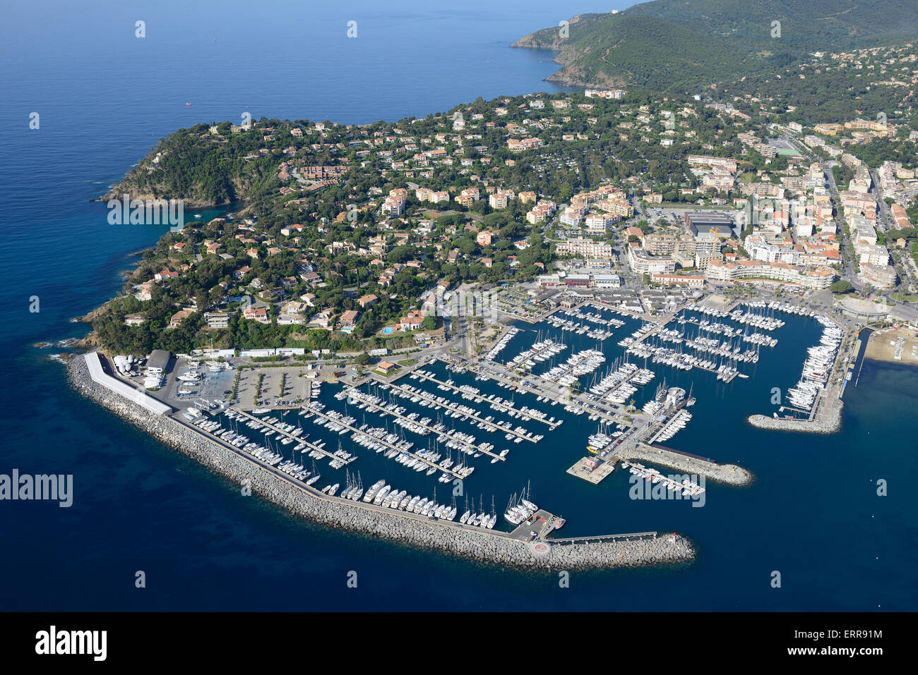 marina of cavalaire sur mer aerial view var french riviera stock photo royalty free image. Black Bedroom Furniture Sets. Home Design Ideas