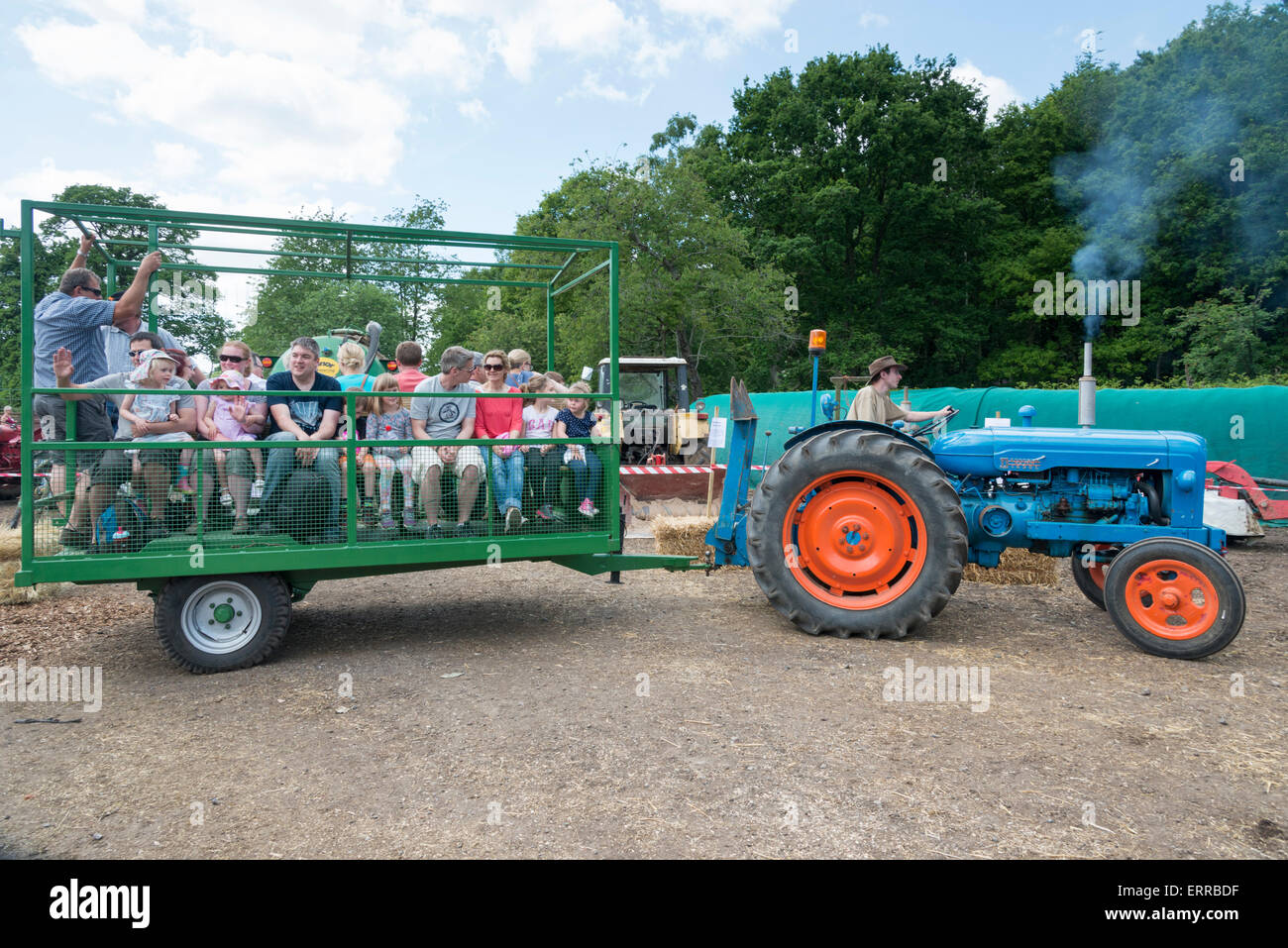 Tractor Trailer Stock : Visitors enjoy tractor and trailer rides at pierrepoint