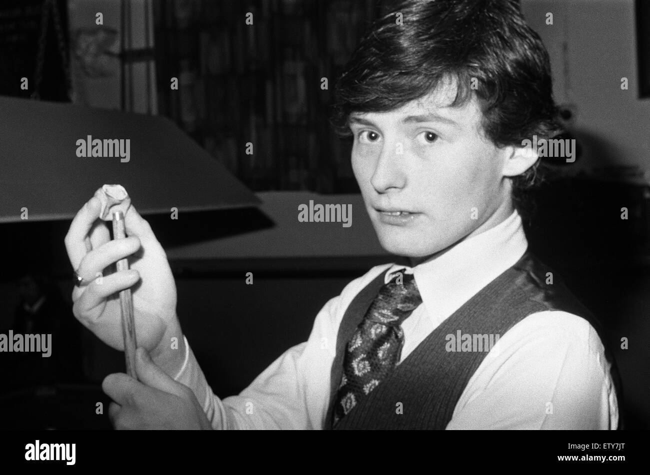 Seventeen year old snooker player Jimmy White playing at ...