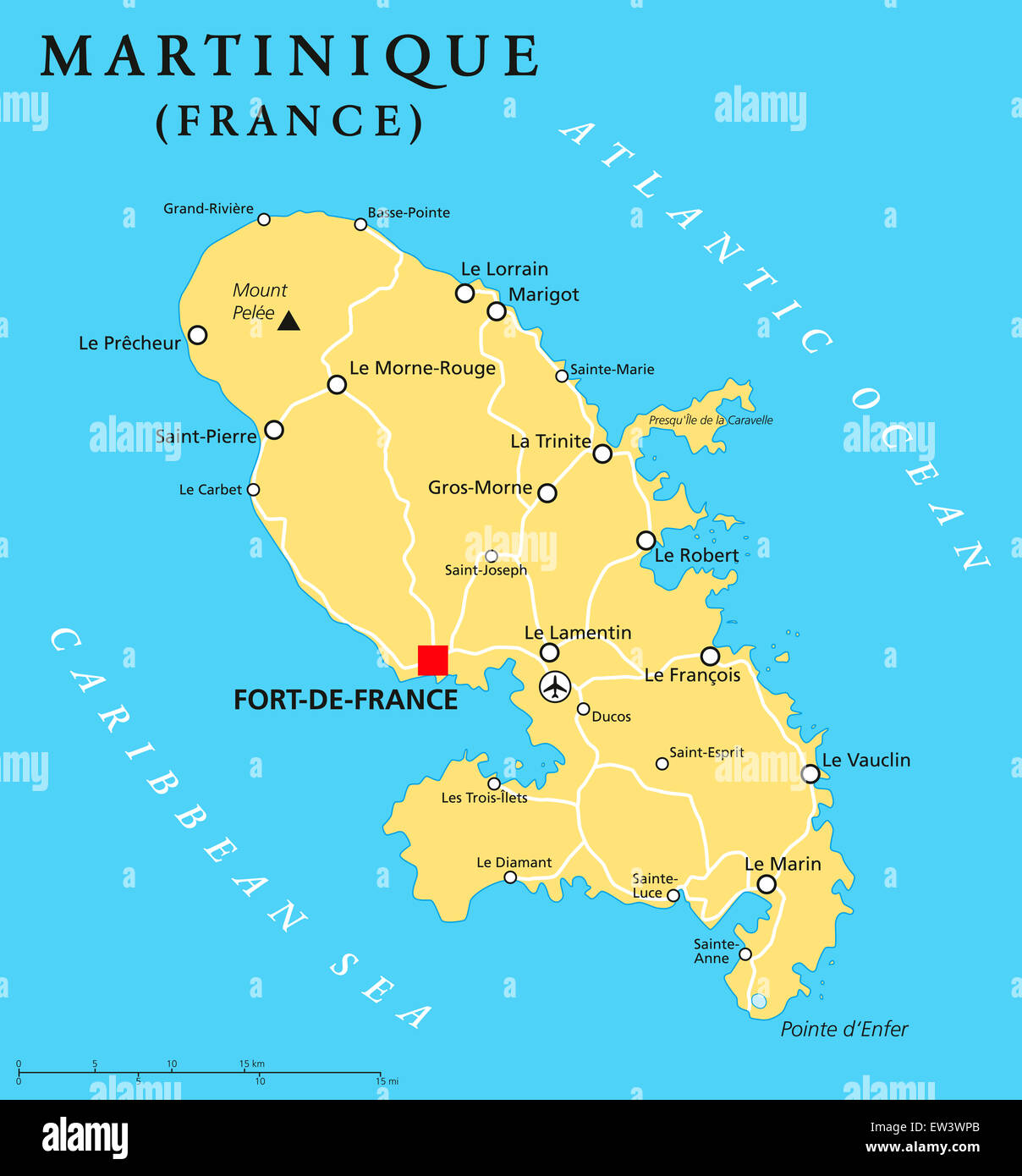 Martinique political map with capital Fort-de-France and ...