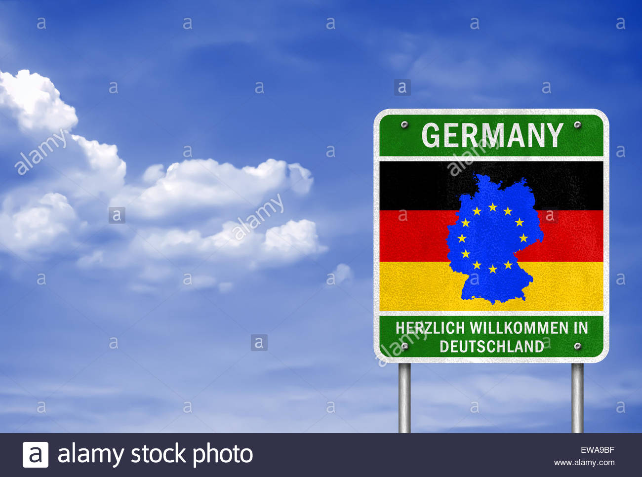 welcome in germany german road sign with the german flag