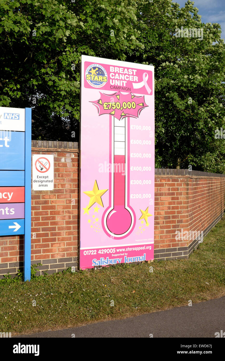 Charity Appeal Sign In The Form Of A Thermometer Showing