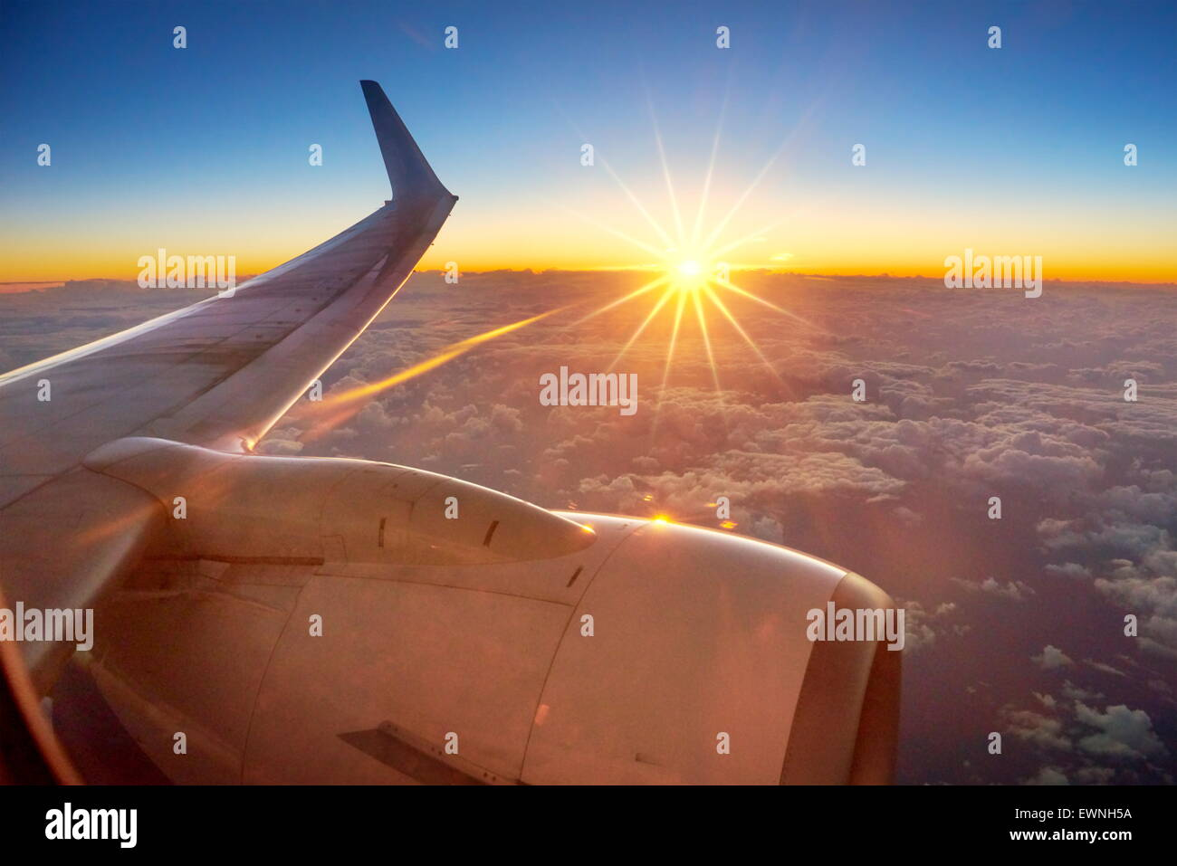 Sunrise view from airplane window Stock Photo