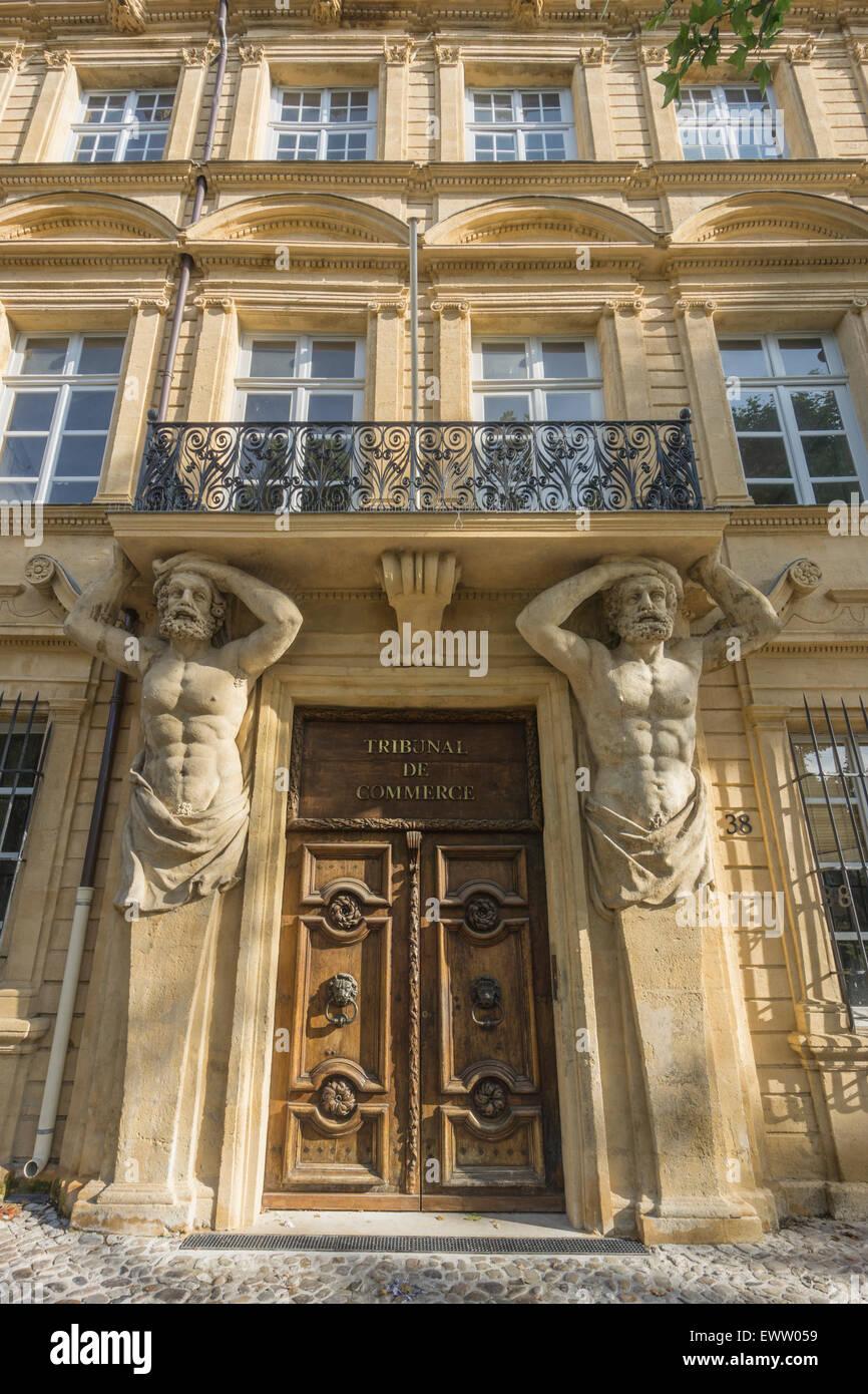 Dorway with caryatids, Tribunal de Commerce, Atlas Firgures,   Cours Mirabeau, Aix-en-Provence, Bouches-du-Rhone Stock Photo