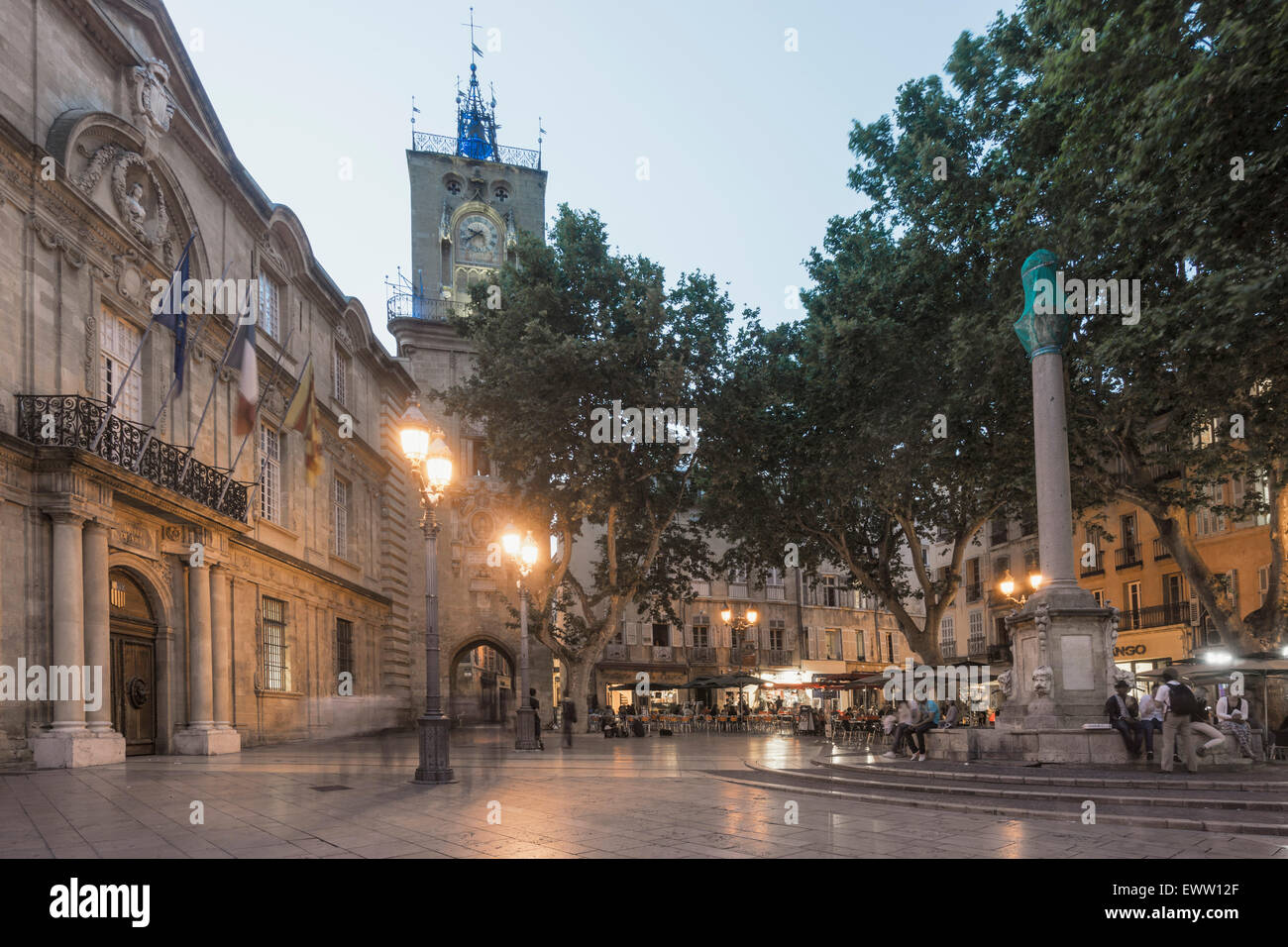 Market Place, Town Hall, Clock Tower,   Aix-en-Provence Stock Photo