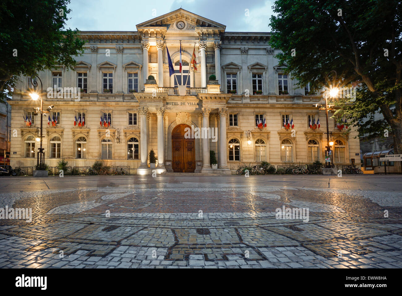 Hotel de Ville, Cobble Stone Mosaic, Avignon, Bouche du Rhone, France Stock Photo