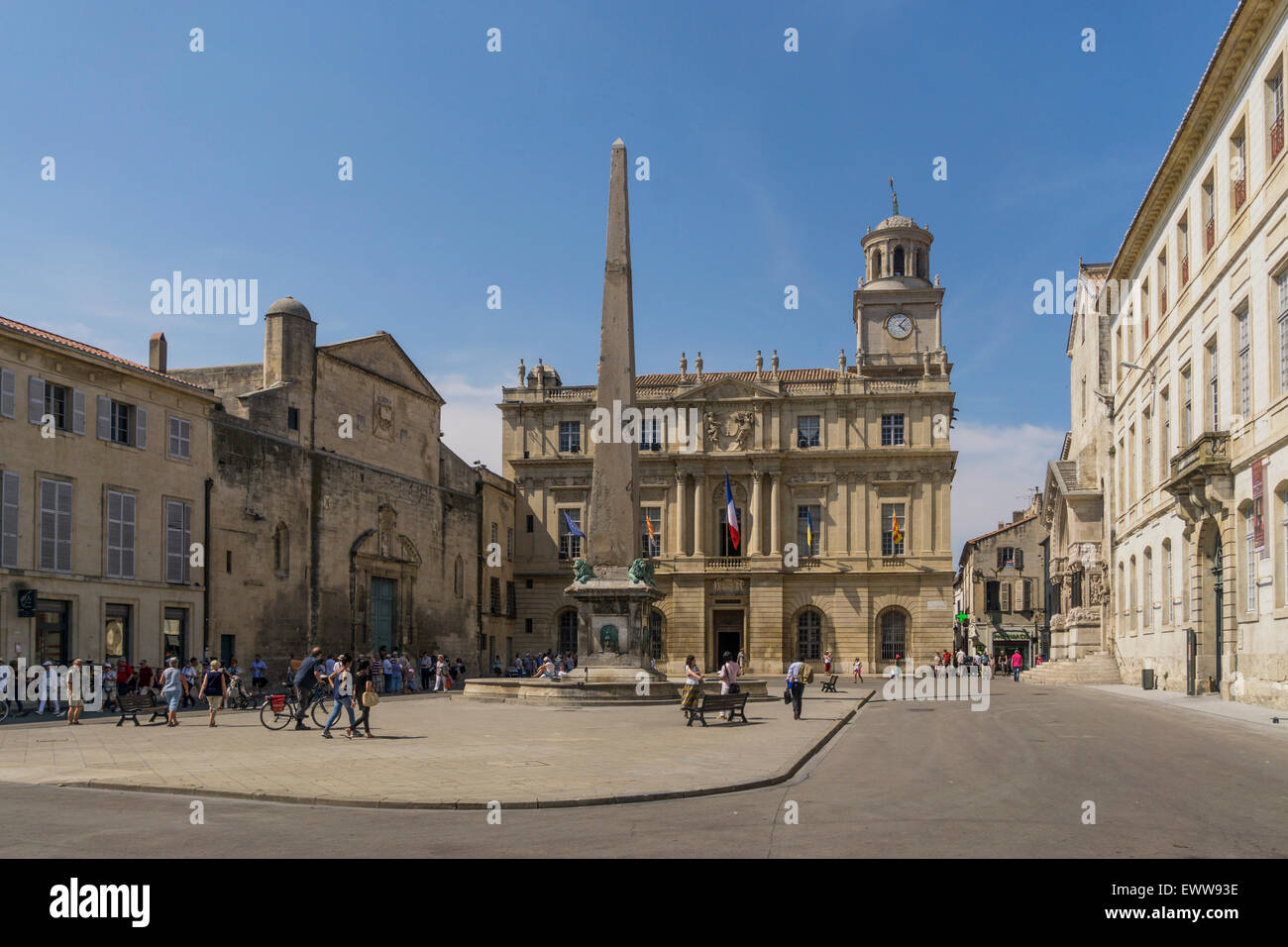 Arles , Place de la Republique, Hotel de Ville, Stock Photo