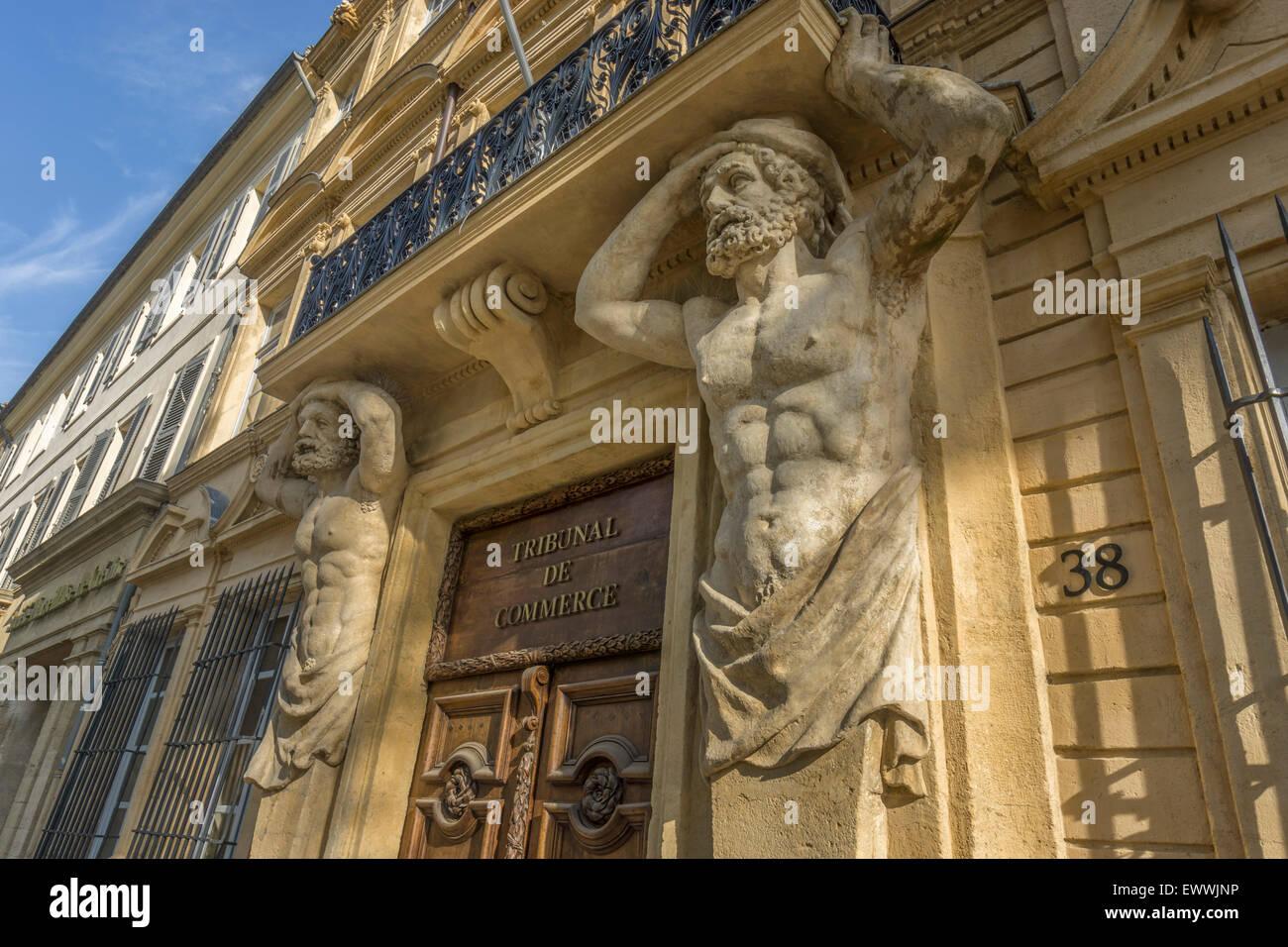 Dorway with caryatids, Tribunal de Commerce, Atlas Figures,   Cours Mirabeau, Aix-en-Provence, Bouches-du-Rhone Stock Photo