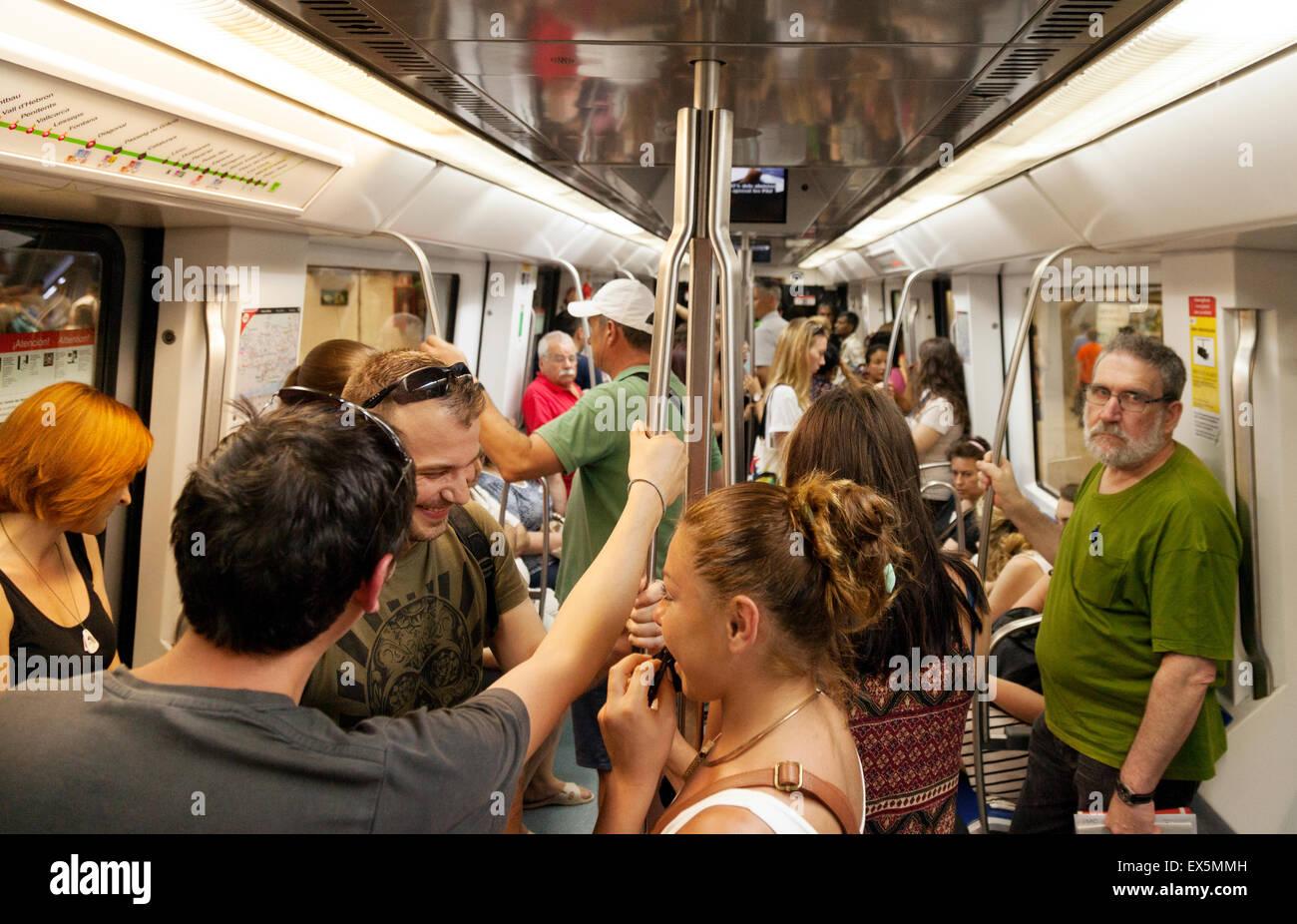 Local spanish people in a metro train carriage barcelona metro stock photo royalty free image - Carrage metro ...