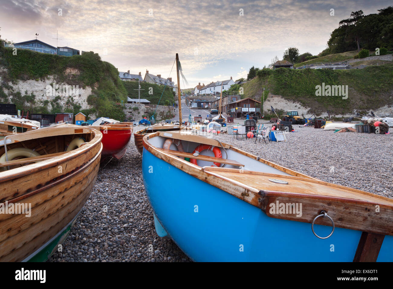 Boats on the beach at Beer, Devon, England, UK Stock Photo