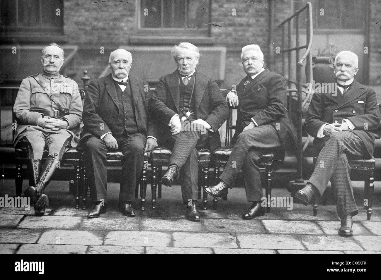 Photograph shows French General Ferdinand Foch (1851-1929), French Prime Minister Georges Benjamin Clemenceau (1841 Stock Photo