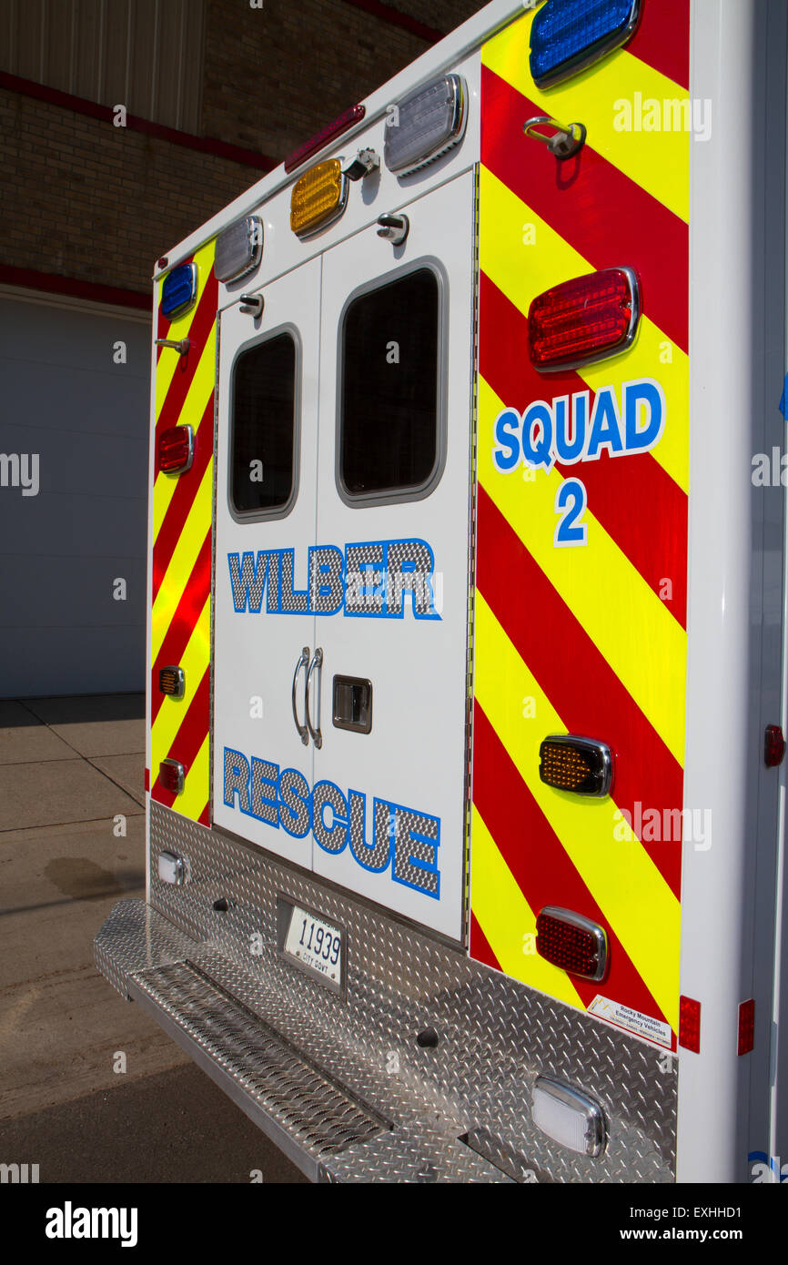 Ambulance, rural volunteer fire department, equipment Stock Photo