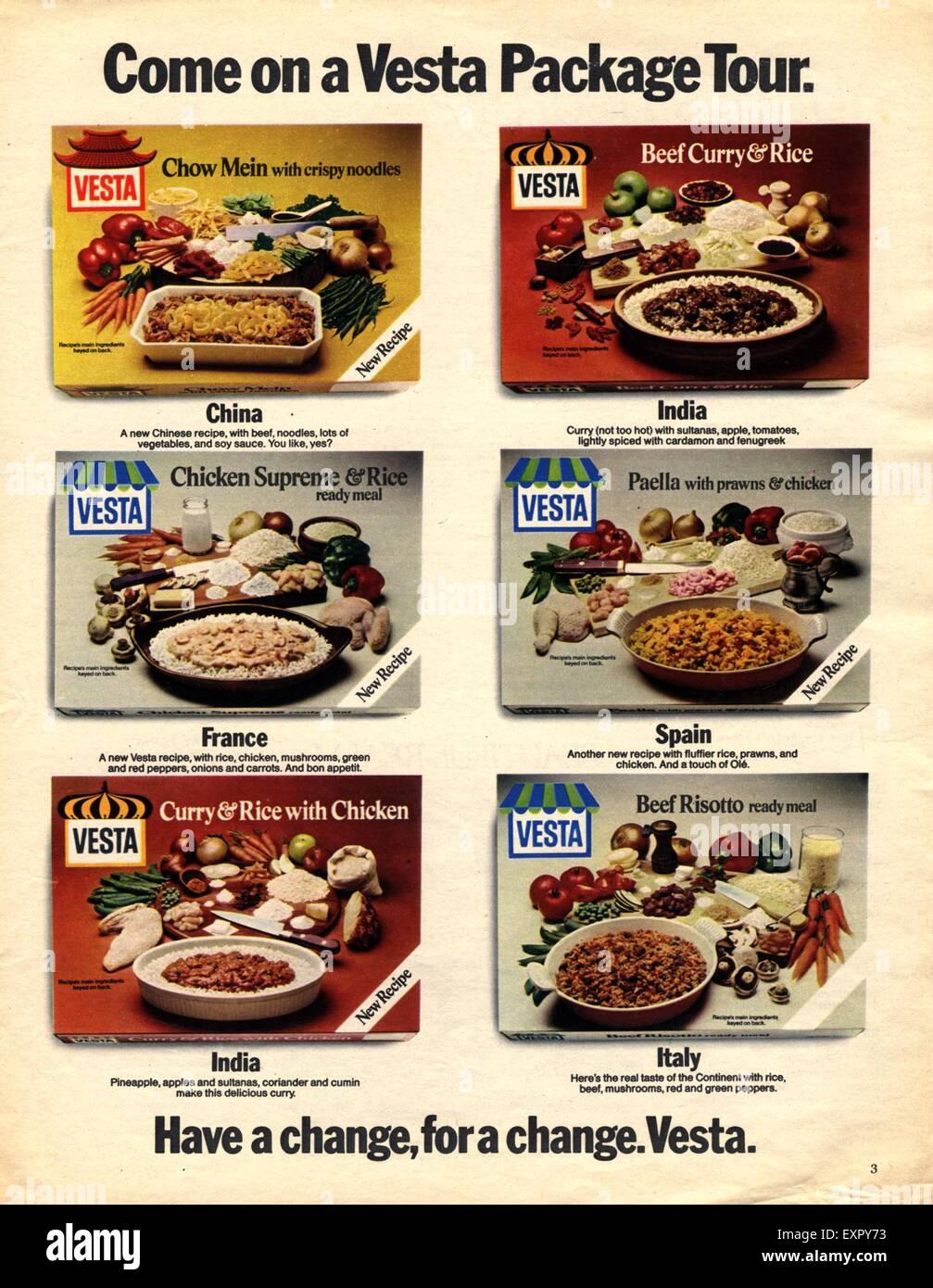 1970s UK Vesta Indian Chinese Food Magazine Advert Stock Photo