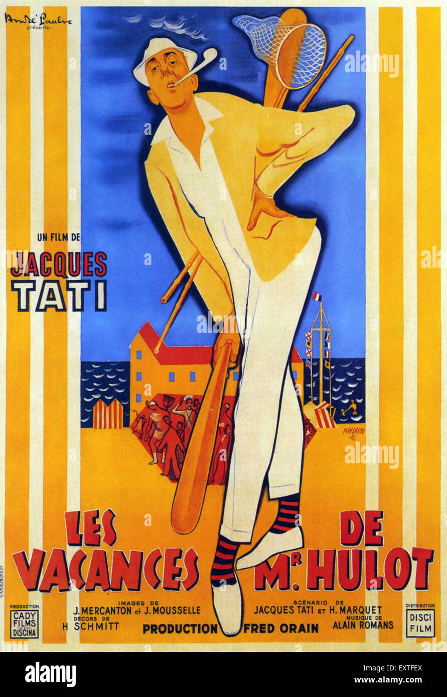1950s france les vacances de monsieur hulot film poster stock photo royalty free image. Black Bedroom Furniture Sets. Home Design Ideas