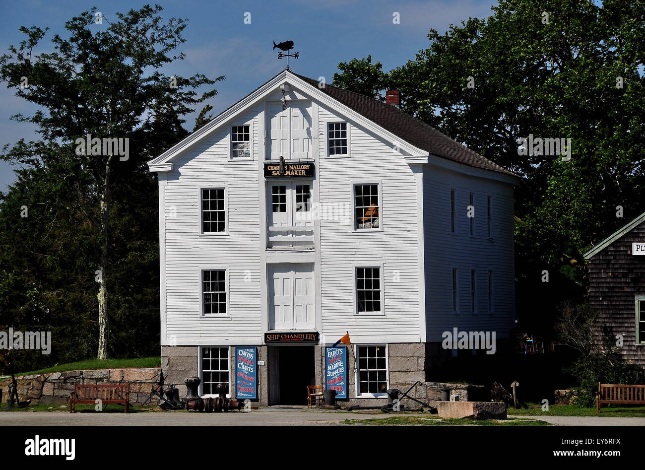 Mysic, Connecticut: Charles Mallory Ships' Candlery, Rigging Loft, and Sail Loft at Mystic Seaport Stock Photo