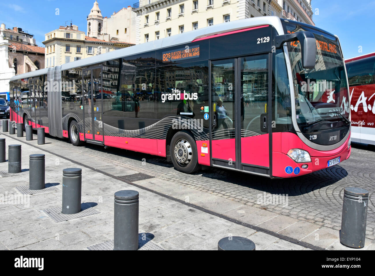 marseille rtm public transport long bendy bus at bus stop adjacent to stock photo royalty free. Black Bedroom Furniture Sets. Home Design Ideas