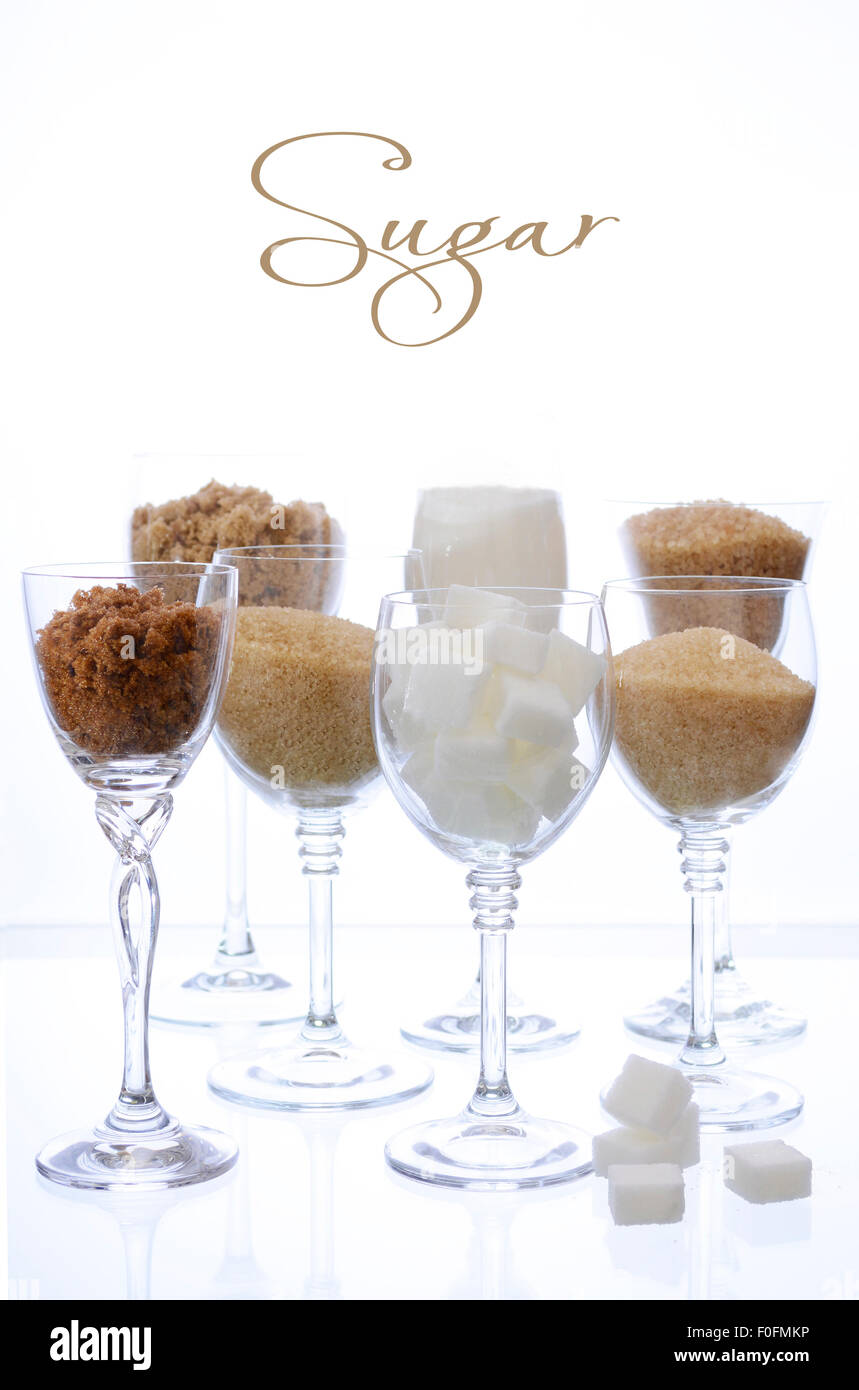 Different Types Of Sugar Including White Brown Dark