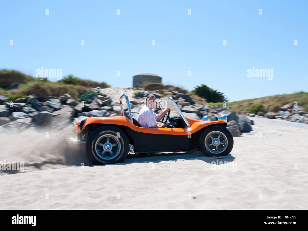 beach buggy on a sandy beach vw beetle based dune buggy car stock photo royalty free image. Black Bedroom Furniture Sets. Home Design Ideas