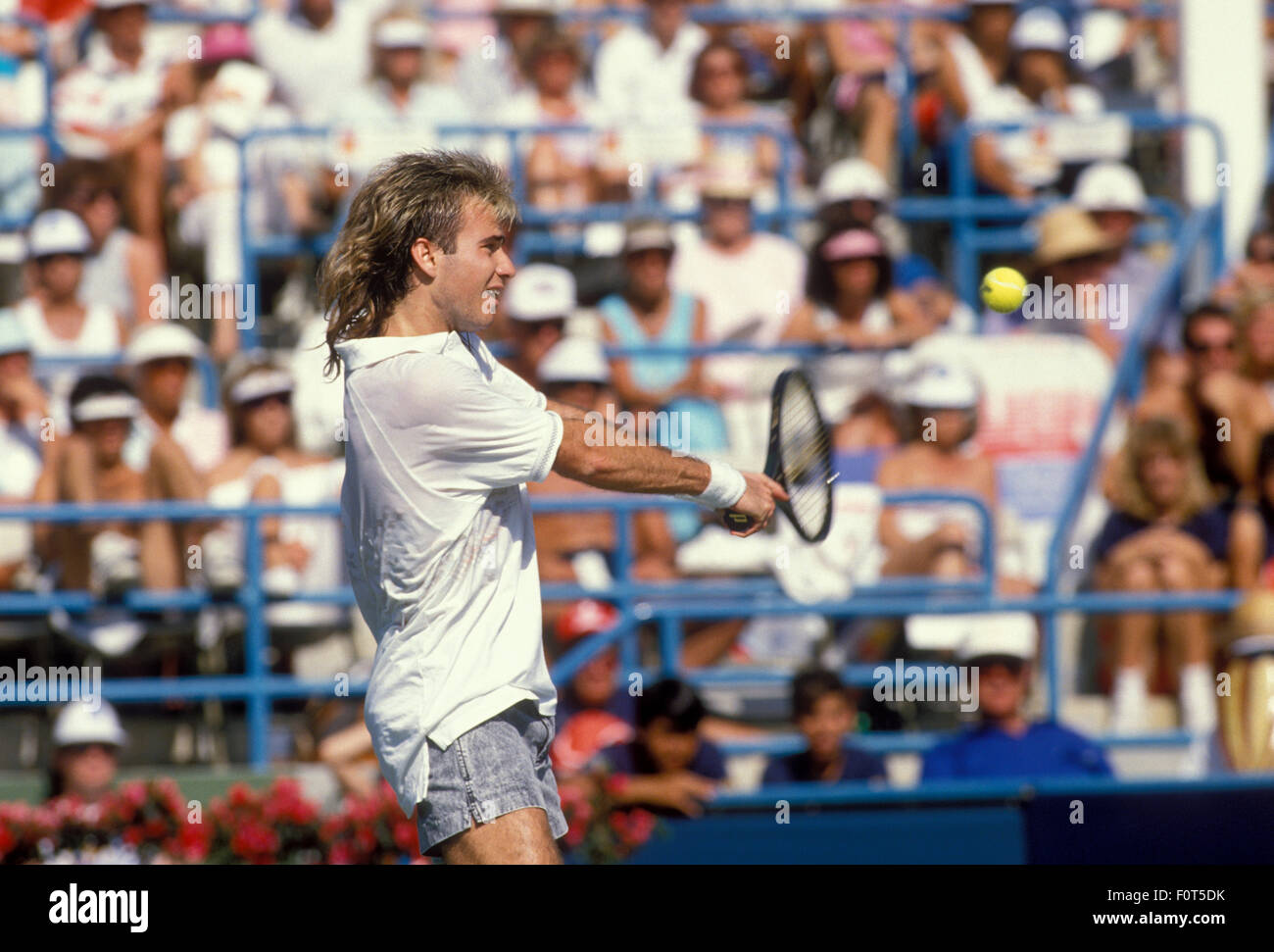 andre agassi in action against boris becker at the newsweek champions stock photo royalty free. Black Bedroom Furniture Sets. Home Design Ideas