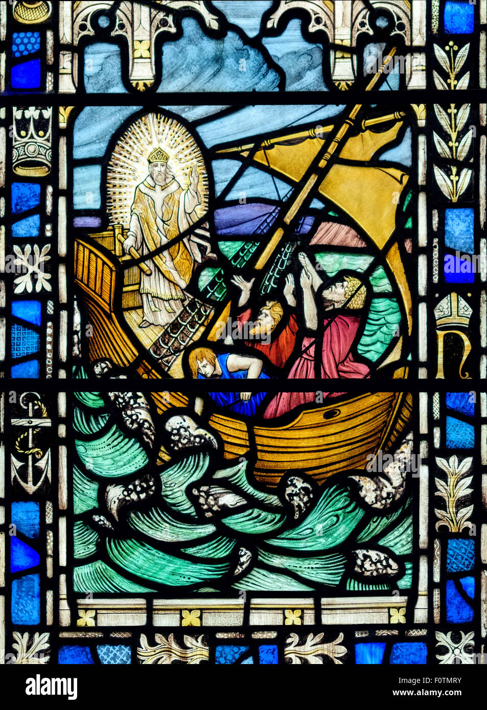 stained glass window depicting jesus calming the storm st