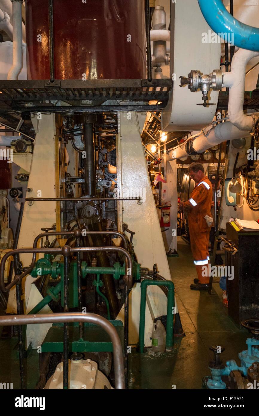 Cargo Ship Engine Room: Steam Engine Room On Steam Ship SS Shieldhall Stock Photo