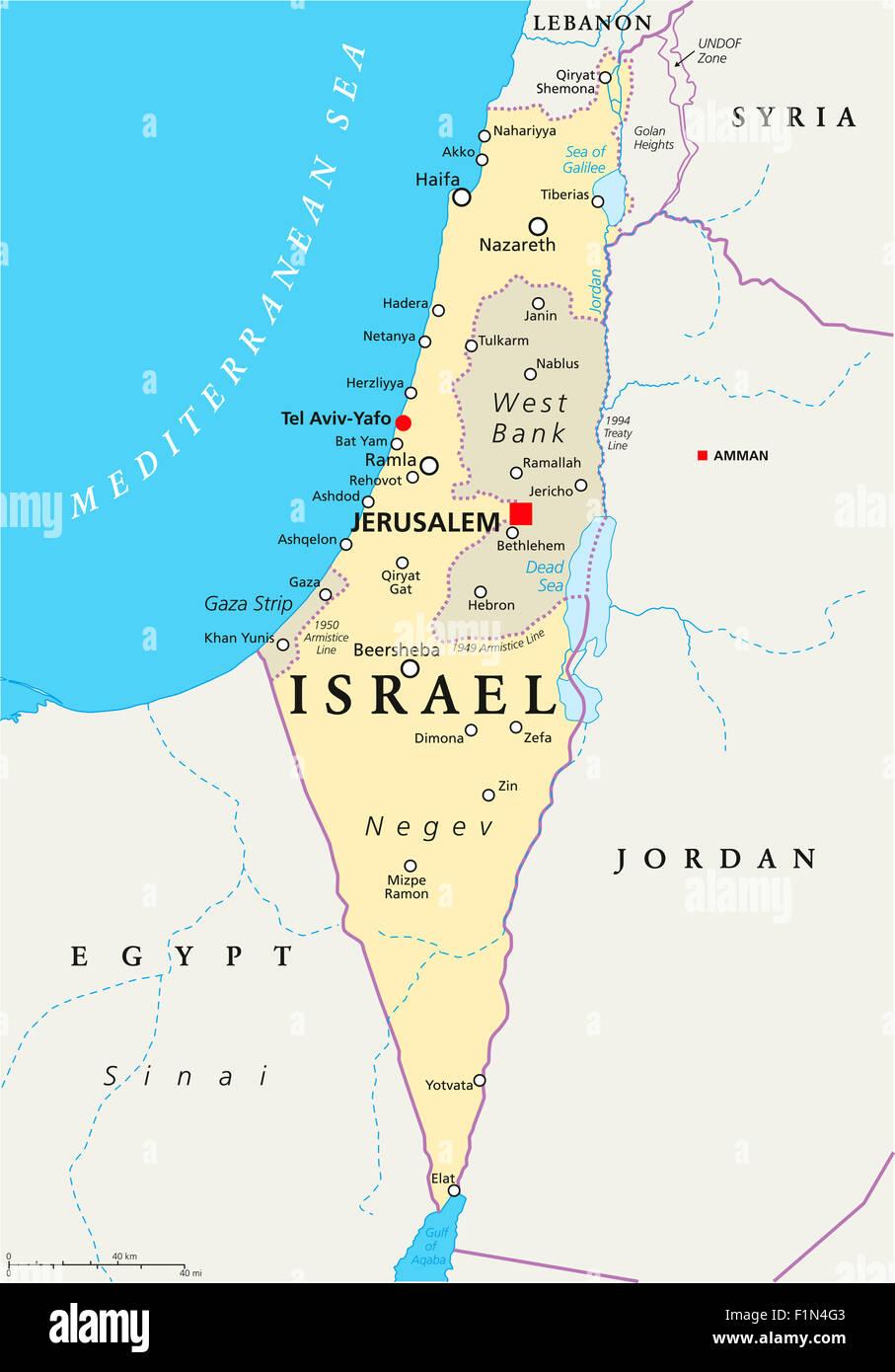 Israel political map with capital Jerusalem, national ...